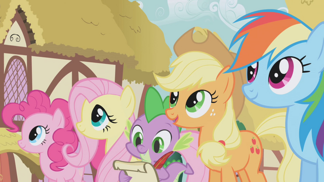 File:Twilight's friends standing side by side S1E02.png