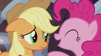 Pinkie Pie tells Applejack to cheer up S5E20