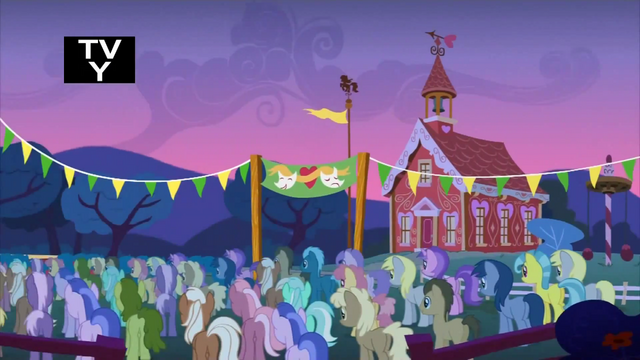 File:Every pony gathered in front of the school S1E18.png