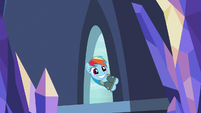 Rainbow Dash enters the castle with a wide grin S6E24