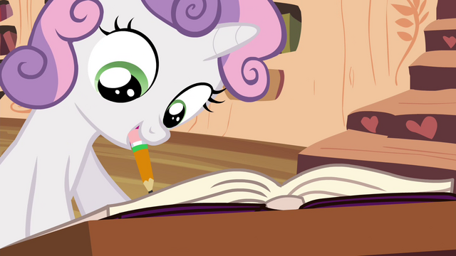 File:Sweetie Belle writing in friendship journal S4E15.png