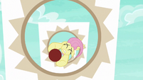Fluttershy flying through obstacle rings S6E18
