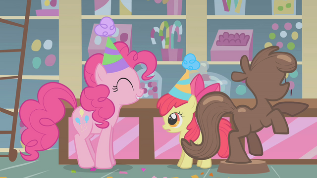 File:Pinkie Pie and Apple Bloom in party hats S01E12.png