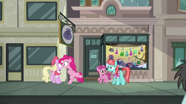 "File:Pinkie Pie ""forgot to take the sign down!"" S6E3.png"