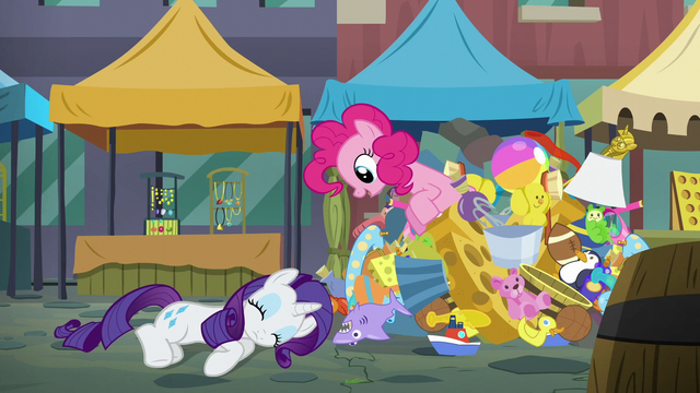 File:Pinkie Pie pops out of the pile of toys S6E3.png