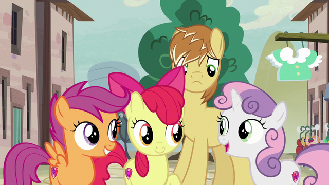 File:Cutie Mark Crusaders agree to help Feather Bangs S7E8.png