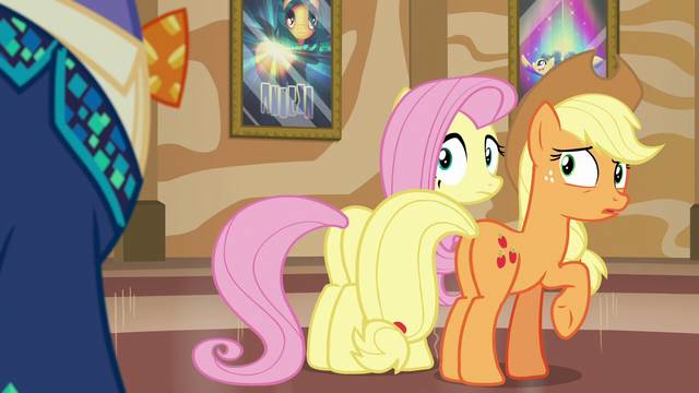 File:Gladmane appears behind Applejack and Fluttershy S6E20.png