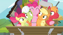 Pinkie Pie hugging all of the Apples S4E09