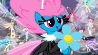 Seabreeze giving Fluttershy a flower S4E16