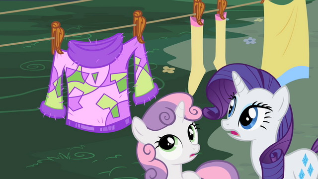 File:Sweetie Belle and Rarity observing the sweater S2E5.png