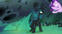 Queen Chrysalis hurls Starlight across the room S6E26