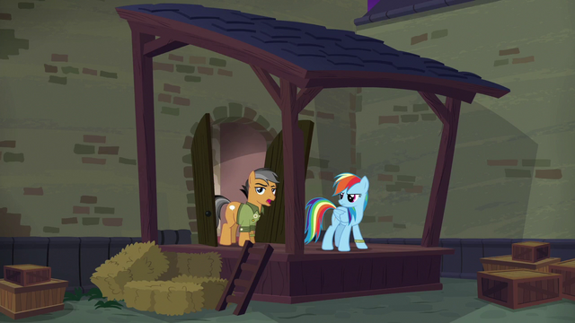 """File:Quibble Pants """"we're out here because...?"""" S6E13.png"""