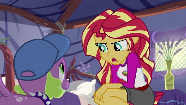 "File:Sunset Shimmer ""I don't know if it was her"" EG4.png"