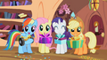 Rainbow Dash, Fluttershy, Rarity and Applejack give presents to Spike S02E10.png
