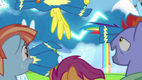 Wonderbolts fly past Bow, Windy, and Scootaloo S7E7