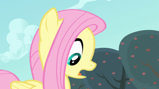 File:Fluttershy looking down at an apple S4E7.png