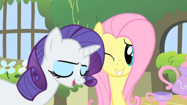 File:Fluttershy winking at Rarity S1E17.png