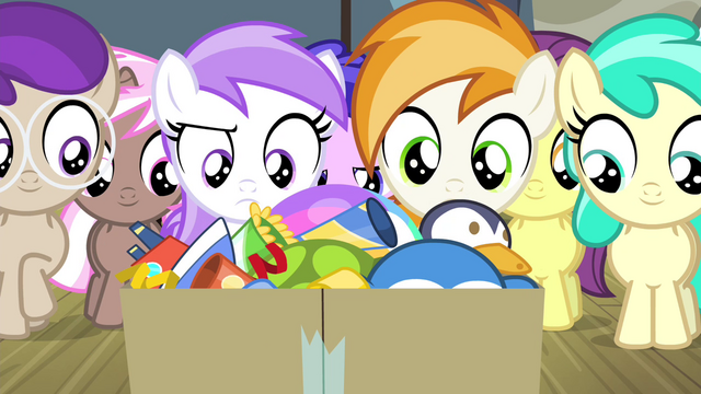 File:Foals looking at box of party favors S4E19.png