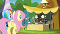 Rainbow and Fluttershy approaching Stellar Eclipse's stall S4E22.png