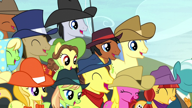 File:Spectator ponies laughing harder S5E6.png