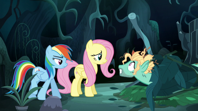 File:Mad Zephyr greets Fluttershy and Rainbow S6E11.png