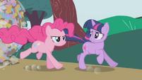 Pinkie galloping next to Twilight S1E10