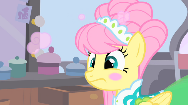 File:Ponies powdering Fluttershy's face S1E20.png