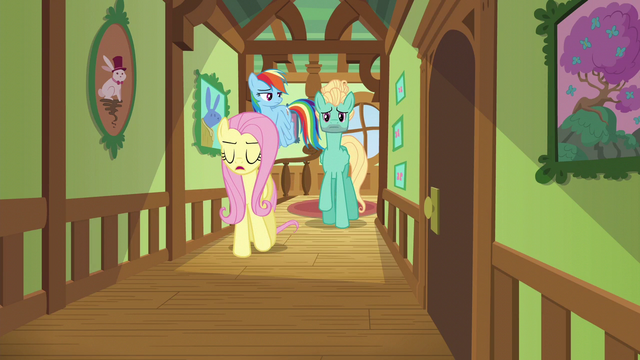 File:Fluttershy, Dash, and Zephyr in a cottage hallway S6E11.png