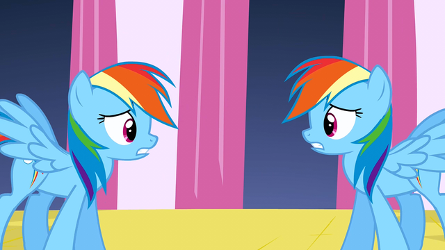 File:Rainbow Dash worried with changeling S2E26.png