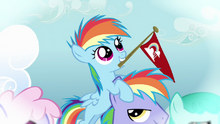 Filly Rainbow Dash on her father's head S3E12.png