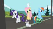 Rarity, Fluttershy and Rainbow Dash hear Applejack S02E07.png
