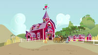 Applejack, Big Mac, and Filthy Rich at the barn S6E23