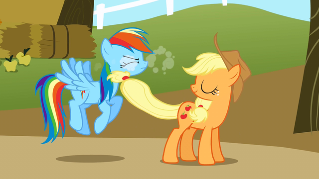 File:Applejack smacking Rainbow S1E13.png