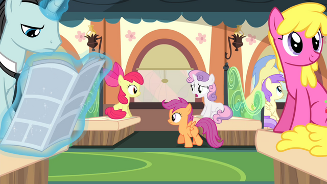 File:Cutie Mark Crusaders on the train S4E19.png