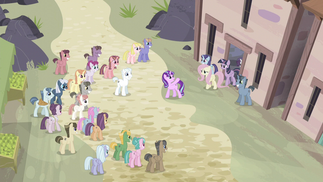File:Ponies gathering around S5E02.png