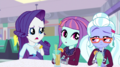 Rarity sits next to Sunny and Sugarcoat EGS1.png