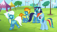 Spitfire, Soarin and Rainbow sees Fleetfoot walking away S4E10