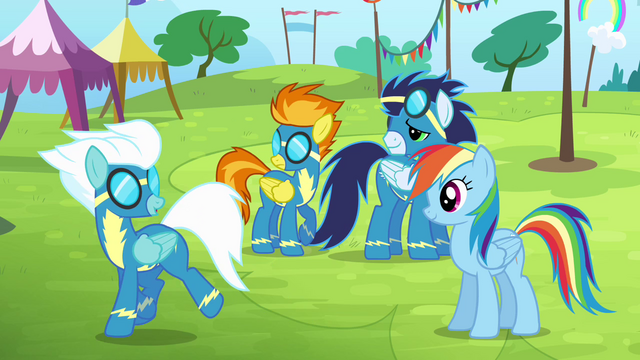 File:Spitfire, Soarin and Rainbow sees Fleetfoot walking away S4E10.png