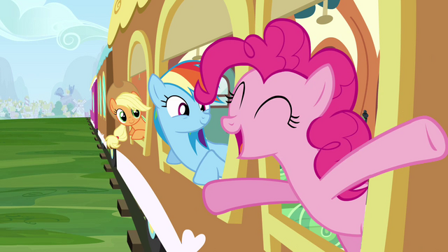 File:Applejack, Rainbow Dash and Pinkie Pie on train S2E25.png