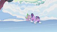 Spike pushes Twilight onto the ice S1E11