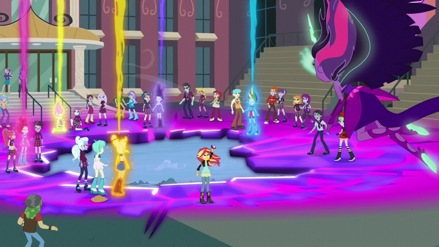 File:The Equestria Girls giving off magical beams EG3.png