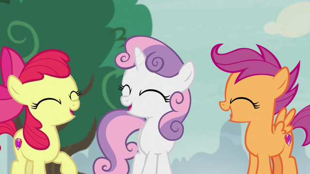 File:Cutie Mark Crusaders laughing about Spike S7E8.png