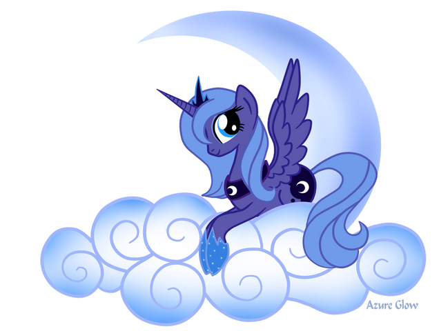 File:FANMADE Princess Luna on a cloud.png