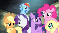 Main ponies look at each other S4E06