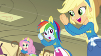 Fluttershy, Dash, and Applejack clap EG