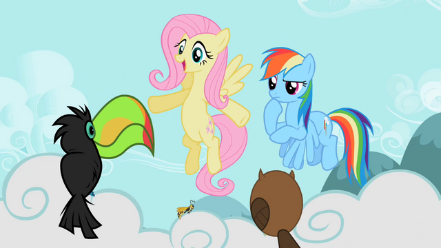 File:Fluttershy and Rainbow with owl, wasp and toucan S2E07.png