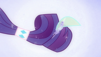 Rarity's hair grows into a ponytail EG