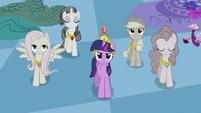 Twilight's friends trudging up S2E02