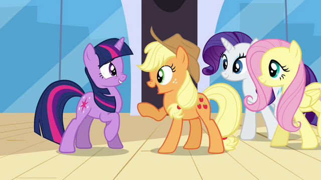 File:Applejack asking Twilight if she passed S3E01.png