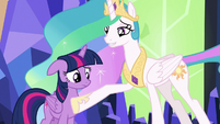 Celestia puts a hoof over Twilight's heart S7E1